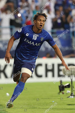 Stock Image of Al-Hilal's Andre Carrillo celebrates after scoring a goal during the AFC Champions League final First leg match between Al-Hilal and Urawa Red Diamonds at King Saudi University Stadium, Al-Riyadh, Saudi Arabia, 09 November 2019.