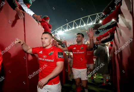 Munster vs Ulster. Munster's Andrew Conway and Conor Murray celebrate with fans after the game