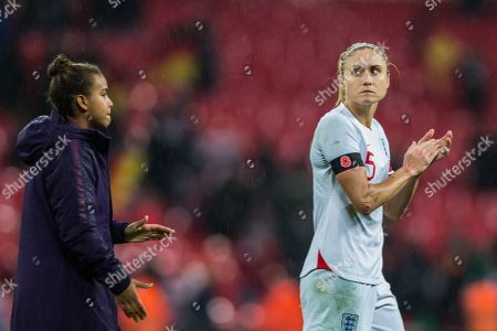 Nikita Parris (England) & Steph Houghton (Capt) (England) thanking the supporters following the International Friendly match between England Women and Germany Women at Wembley Stadium, London