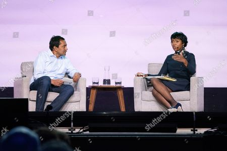 M. Sanjayan, Mellody Hobson. M. Sanjayan, left, and Mellody Hobson seen on day one of Summit LA19 in Downtown Los Angeles, in Los Angeles