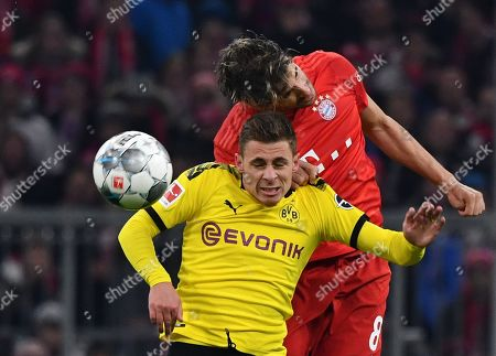 Stock Picture of Bayern's Javi Martinez (R) in action against Dortmund's Thorgan Hazard during the German Bundesliga soccer match between FC Bayern and Borussia Dortmund in Munich, Germany, 09 November 2019.