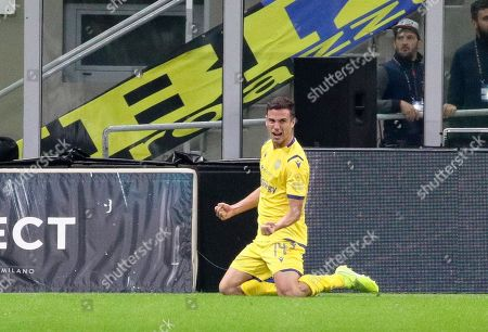 Hellas Verona's mildfielder Valerio Verre jubilates after a goal during the Italian Serie A soccer match FC Inter vs Hellas Verona at the  Giuseppe Meazza Stadium in Milan, Italy 9  November 2019.