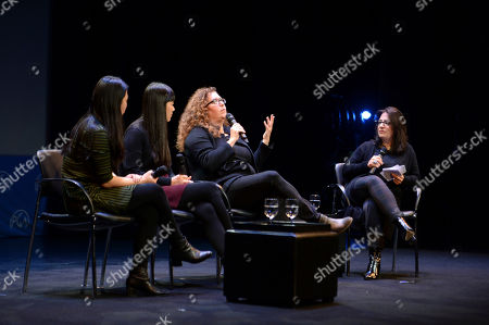 Nanfu Wang, Jialing Zhang, Julie Goldman, Marilyn Ness are seen at the Produced By: New York Conference at Florence Gould Hall, in New York
