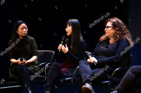 Nanfu Wang, Jialing Zhang, Julie Goldman are seen at the Produced By: New York Conference at Florence Gould Hall, in New York