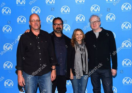Michael McCusker, James Mangold, Anne Hubbell, Tracy Letts are seen at the Produced By: New York Conference at Florence Gould Hall, in New York