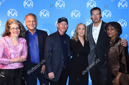 Kay Rothman, Vance Van Petten, Ron Howard, Susan Sprung, Scott Stuber, Michelle Byrd are seen at the Produced By: New York Conference at Florence Gould Hall, in New York