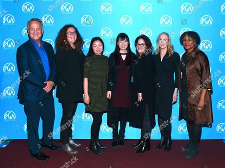 Vance Van Petten, Julie Goldman, Nanfu Wang, Jialing Zhang, Marilyn Ness, Susan Sprung, Michelle Byrd are seen at the Produced By: New York Conference at Florence Gould Hall, in New York
