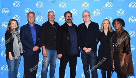 Anne Hubbell, Vance Van Petten, Michael McCusker, James Mangold, Tracy Letts, Susan Sprung, Michelle Byrd are seen at the Produced By: New York Conference at Florence Gould Hall, in New York