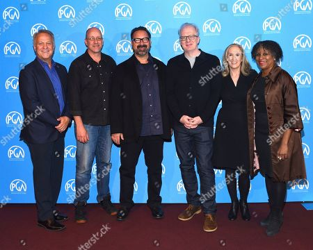 Vance Van Petten, Michael McCusker, James Mangold, Tracy Letts, Susan Sprung, Michelle Byrd are seen at the Produced By: New York Conference at Florence Gould Hall, in New York