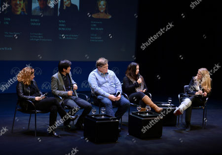 Elaine Frontain Bryant, Dan Lin, Banks Tarver, Nina Yang Bongiovi, Lori McCreary are seen at the Produced By: New York Conference at Florence Gould Hall, in New York