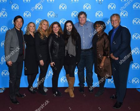 Dan Lin, Susan Sprung, Lori McCreary, Elaine Frontain Bryant, Nina Yang Bongiovi, Banks Tarver, Michelle Byrd, Vance Van Petten as seen at the Produced By: New York Conference at Florence Gould Hall, in New York