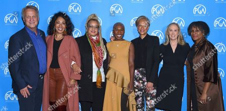 Vance Van Petten, Debra Martin Chase, Kasi Lemmons, Cynthia Erivo, Tonya Lewis Lee, Susan Sprung, Michelle Byrd as seen at the Produced By: New York Conference at Florence Gould Hall, in New York