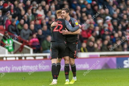 Stephen Ward of Stoke City and Sam Clucas of Stoke City celebrating his team's first goal during the EFL Sky Bet Championship match between Barnsley and Stoke City at Oakwell, Barnsley