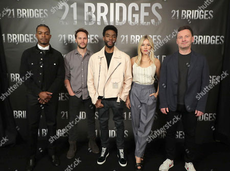 Stock Image of Stephan James, Taylor Kitsch, Chadwick Boseman, Sienna Miller and Director Brian Kirk