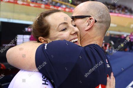 Katy Marchant of Great Britain celebrates winning the Women's Keirin.