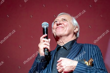Peter Greenaway poses as he receives a prize during the 27th edition of the EnergaCAMERIMAGE 2019 international film festival of the art of cinematography in Torun, Poland, 09 November 2019. The festival runs from 09 to 16 November.