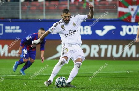 Stock Image of Karim Benzema, player of Real Madrid from France, shoot for goal