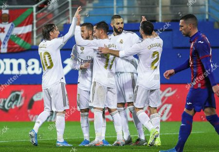 Stock Picture of Luka Modric, player of Real Madrid from Croatia, Eden Hazard, player of Real Madrid from Belgium, Lucas Vazquez, player of Real Madrid from Spain, Karim Benzema, player of Real Madrid from France, and Dani Carvajal, player of Real Madrid from Spain, celebrates a goal