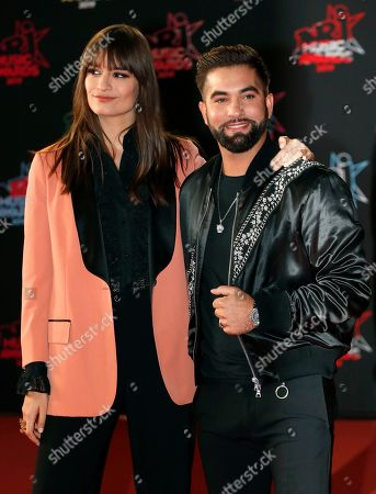 Clara Luciani (L) and Kendji Girac (R) arrive for the 21st NRJ Music Awards at the Palais des Festivals in Cannes, France, 09 November 2019.