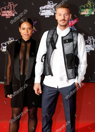 Christina Milian (L) and French singer M Pokora (R) arrive for the 21st NRJ Music Awards at the Palais des Festivals in Cannes, France, 09 November 2019.