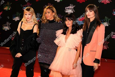 Belgian singer Angele (L), French singer 'Vitaa' Charlotte Gonin (2-L), French singer Jenifer (C), French singer Clara Luciani (R) arrive for the 21st NRJ Music Awards at the Palais des Festivals in Cannes, France, 09 November 2019.