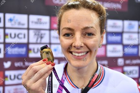 Katy Marchant of Great Britain on the podium after winning the Women's Keirin.