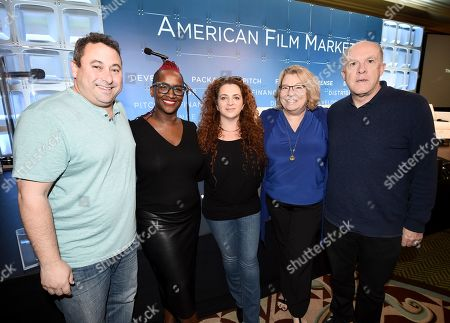 Stock Picture of Tobin Armbrust, President, Worldwide Production & Acquisitions, Virgin Produced, Effie Brown, Producer, Duly Noted, Inc., Lee Jessup, Screenwriting Career Consultant & Coach, Georja Skinner, Chief Officer State of Hawaii's Creative Industries Division, Cassian Elwes, Producer, Elevated