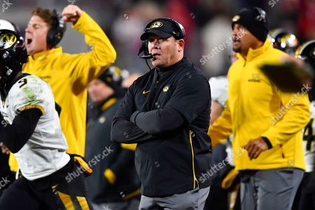 Stock Photo of Missouri coach Barry Odom coaches of an NCAA college football game against Georgia, in Athens, Ga