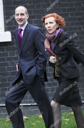 The Rt Hon Lord Adonis Sec of State for Transport arriving at Cabinet this morning walking with Baroness Royall Leader of the House of Lords