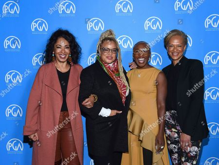 Debra Martin Chase, Kasi Lemmons, Cynthia Erivo, Tonya Lewis Lee is seen at the Produced By: New York Conference at Florence Gould Hall, in New York