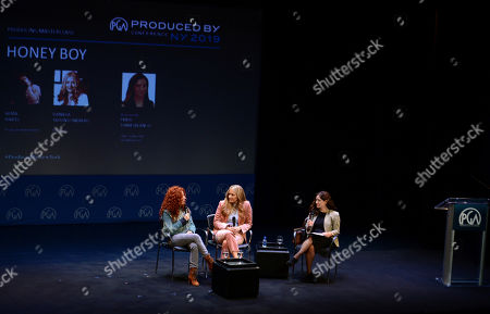 Stock Picture of Alma Har'el, Daniela Taplin Lundberg, Frida Torresblanco are seen at the Produced By: New York Conference at Florence Gould Hall, in New York