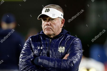 Notre Dame head coach Brian Kelly is seen prior to an NCAA college football game against Duke in Durham, N.C