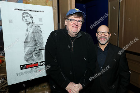 Stock Picture of Michael Moore (Co-Host) and Scott Z Burns (Producer, Director)