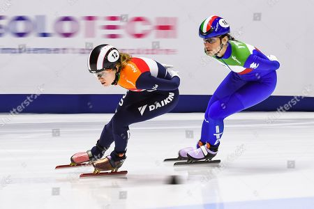 Stock Image of Rianne De Vries (NED) leads the race during the ISU World Cup II at Maurice-Richard Arena in Montreal, Quebec