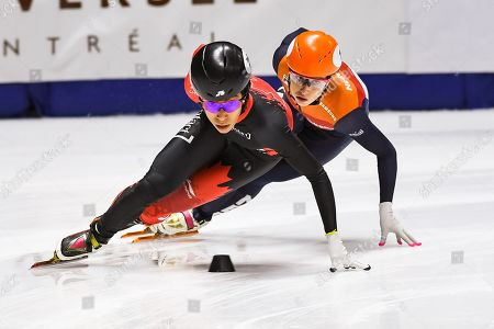 Suzanne Schulting (NED) chases Alyson Charles (CAN) during the ISU World Cup II at Maurice-Richard Arena in Montreal, Quebec