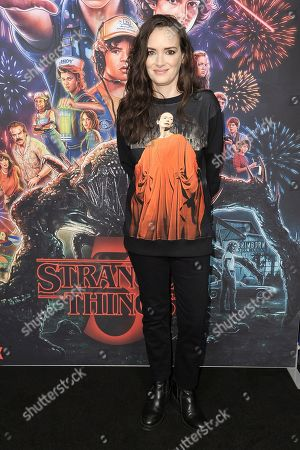 "Winona Ryder attends the ""Stranger Things"" season 3 screening event at Linwood Dunn Theater, in Los Angeles"