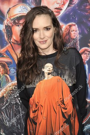 "Stock Photo of Winona Ryder attends the ""Stranger Things"" season 3 screening event at Linwood Dunn Theater, in Los Angeles"