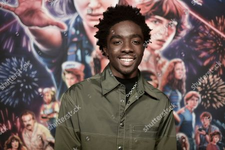 "Caleb McLaughlin attends the ""Stranger Things"" season 3 screening event at Linwood Dunn Theater, in Los Angeles"