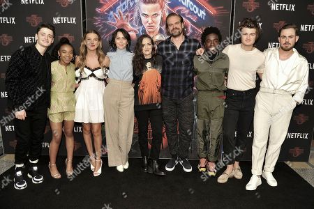 "Noah Schnapp, Priah Ferguson, Millie Bobby Brown, Carmen Cuba, Winona Ryder, David Harbour, Caleb McLaughlin, Joe Keery, Dacre Montgomery. Noah Schnapp, from left, Priah Ferguson, Millie Bobby Brown, Carmen Cuba, Winona Ryder, David Harbour, Caleb McLaughlin, Joe Keery and Dacre Montgomery attend the ""Stranger Things"" season 3 screening event at Linwood Dunn Theater, in Los Angeles"
