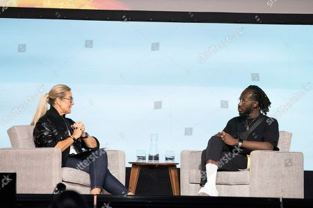 Angela Ahrendts, Iddris Sandu. Angela Ahrendts, left, and Iddris Sandu seen on day two of Summit LA19 in Downtown Los Angeles, in Los Angeles