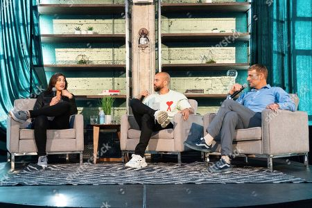 Hope Solo, Kobie Fuller, Trevor Moawad. Hope Solo, from left, Kobie Fuller and Trevor Moawad seen on day two of Summit LA19 in Downtown Los Angeles, in Los Angeles