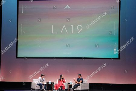 Michael Roberts, Elizabeth Chai Vasarhelyi, Jimmy Chin. Michael Roberts, from left, Elizabeth Chai Vasarhelyi and Jimmy Chin seen on day two of Summit LA19 in Downtown Los Angeles, in Los Angeles