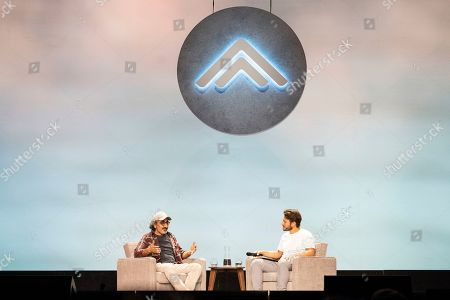 Stock Picture of Hamdi Ulukaya, Elliott Bisnow. Hamdi Ulukaya, left, and Elliott Bisnow seen on day two of Summit LA19 in Downtown Los Angeles, in Los Angeles