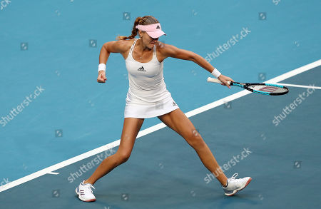 Kristina Mladenovic of France celebrates during the doubles match against Ash Barty and Sam Stosur of Australia on day 2 of the Fed Cup Final tennis competition between Australia and France at RAC Arena in Perth, Australia, 10 November 2019.