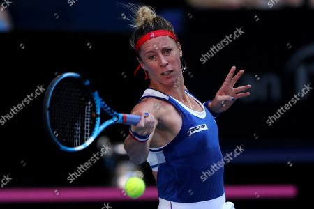 Pauline Parmentier of France in action against Ajla Tomljanovic of Australia during day two of the Fed Cup Final tennis competition between Australia and France at RAC Arena in Perth, Australia, 10 November 2019.