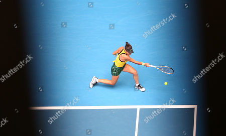 Ajla Tomljanovic of Australia in action against Pauline Parmentier of France during day two of the Fed Cup Final tennis competition between Australia and France at RAC Arena in Perth, Australia, 10 November 2019.