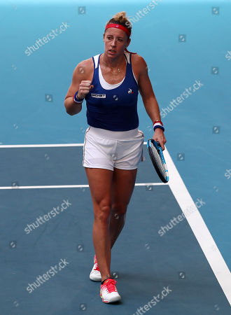 Pauline Parmentier of France gestures while in action against Ajla Tomljanovic of Australia during day two of the Fed Cup Final tennis competition between Australia and France at RAC Arena in Perth, Australia, 10 November 2019.