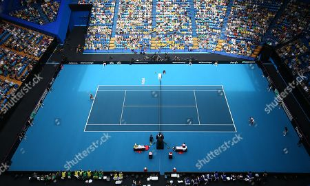 A general view of play in action during the match between Ajla Tomljanovic of Australia and Pauline Parmentier of France on day two of the Fed Cup Final tennis competition between Australia and France at RAC Arena in Perth, Australia, 10 November 2019.
