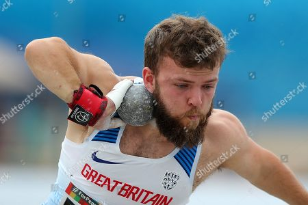 Kyron Duke of Great Britain reacts during Men?s Shot Put F41 final at the World Para Athletics Championships in Dubai, United Arab Emirates, 10 November 2019. The sporting event runs from 07 through to 15 November.
