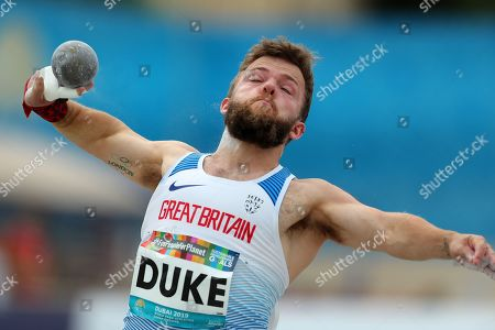 Kyron Duke of Great Britain in action during Men?s Shot Put F41 final at the World Para Athletics Championships in Dubai, United Arab Emirates, 10 November 2019. The sporting event runs from 07 through to 15 November.